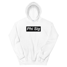 "Load image into Gallery viewer, Phi Sigma Sigma ""Phi Sig"" Block Hoodie (White)"