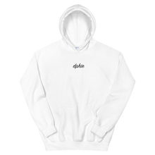 "Load image into Gallery viewer, Delta Phi Epsilon ""dphie"" Embroidered Script Hoodie (White)"