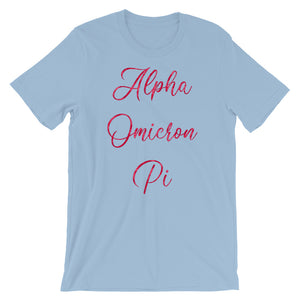 Alpha Omicron Pi Rose Pattern Shirt (Light Blue)