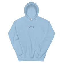 "Load image into Gallery viewer, Phi Sigma Sigma ""phi sig"" Embroidered Script Hoodie (Light Blue and Navy)"