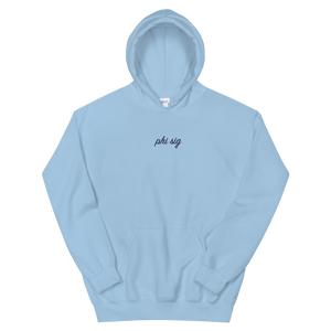 "Phi Sigma Sigma ""phi sig"" Embroidered Script Hoodie (Light Blue and Navy)"