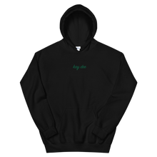"Load image into Gallery viewer, Kappa Delta ""kay dee"" Embroidered Script Hoodie (Black and Green)"