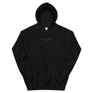 "Kappa Delta ""kay dee"" Embroidered Script Hoodie (Black and Green)"