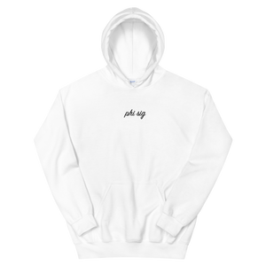 "Phi Sigma Sigma ""phi sig"" Embroidered Script Hoodie (White)"