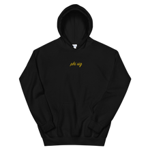 "Load image into Gallery viewer, Phi Sigma Sigma ""phi sig"" Embroidered Script Hoodie (Black and Gold)"