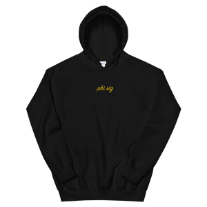 "Phi Sigma Sigma ""phi sig"" Embroidered Script Hoodie (Black and Gold)"