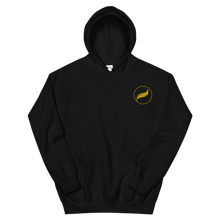 Load image into Gallery viewer, Alpha Xi Delta Quill Embroidered Hoodie (Black/Gold)