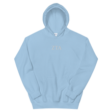 Load image into Gallery viewer, Zeta Tau Alpha Official Letters Embroidered Hoodie (Light Blue)