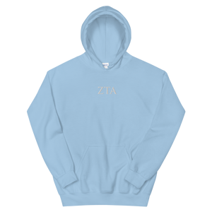 Zeta Tau Alpha Official Letters Embroidered Hoodie (Light Blue)