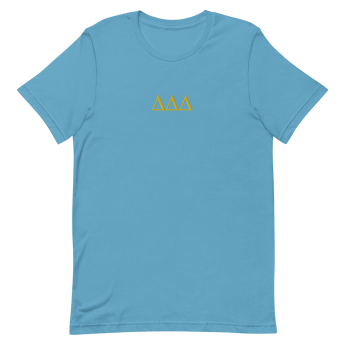 Delta Delta Delta Letters Embroidered Shirt (Ocean Blue)