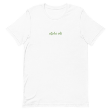 "Load image into Gallery viewer, Alpha Chi Omega ""alpha chi"" Embroidered Script Shirt"