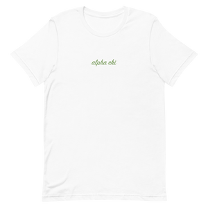"Alpha Chi Omega ""alpha chi"" Embroidered Script Shirt"