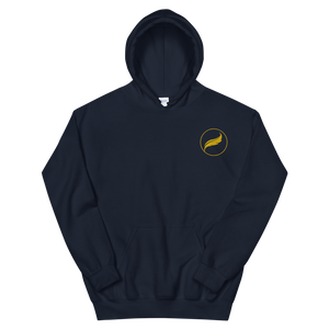 Alpha Xi Delta Quill Embroidered Hoodie (Navy/Gold)