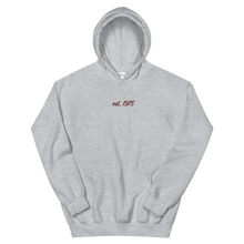 "Load image into Gallery viewer, Lambda Theta Alpha ""est. 1975"" Embroidered Script Hoodie (Sport Grey)"