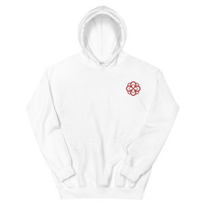 Alpha Omicron Pi Infinity Rose Embroidered Hoodie (White and Red)