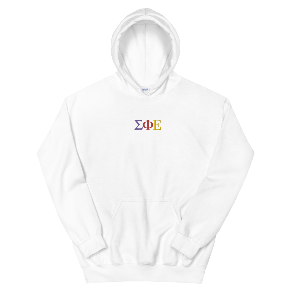 Sigma Phi Epsilon Official Greek Letters Embroidered Hoodie (White)