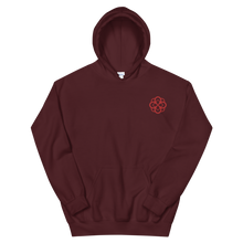 Load image into Gallery viewer, Alpha Omicron Pi Infinity Rose Embroidered Hoodie (Maroon and Red)