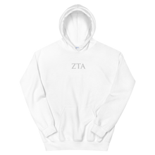 Load image into Gallery viewer, Zeta Tau Alpha Official Letters Embroidered Hoodie (White)