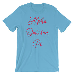 Alpha Omicron Pi Rose Pattern Shirt (Ocean Blue)