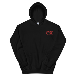 Theta Chi Official Letters Embroidered Hoodie (Black and Red)
