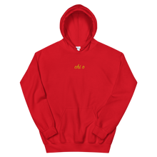 "Load image into Gallery viewer, Chi Omega ""chi o"" Embroidered Script Hoodie (Red)"