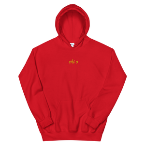 "Chi Omega ""chi o"" Embroidered Script Hoodie (Red)"