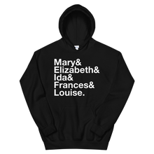 Load image into Gallery viewer, Sigma Kappa Founders Hoodie (Black). Reads: Mary and Elizbeth and Ida and Frances and Louise.