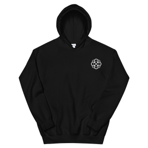 Alpha Omicron Pi Infinity Rose Embroidered Hoodie (Black and White)