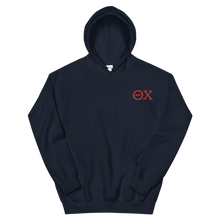 Load image into Gallery viewer, Theta Chi Official Letters Embroidered Hoodie (Navy and Red)