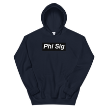 "Load image into Gallery viewer, Phi Sigma Sigma ""Phi Sig"" Block Hoodie (Navy)"