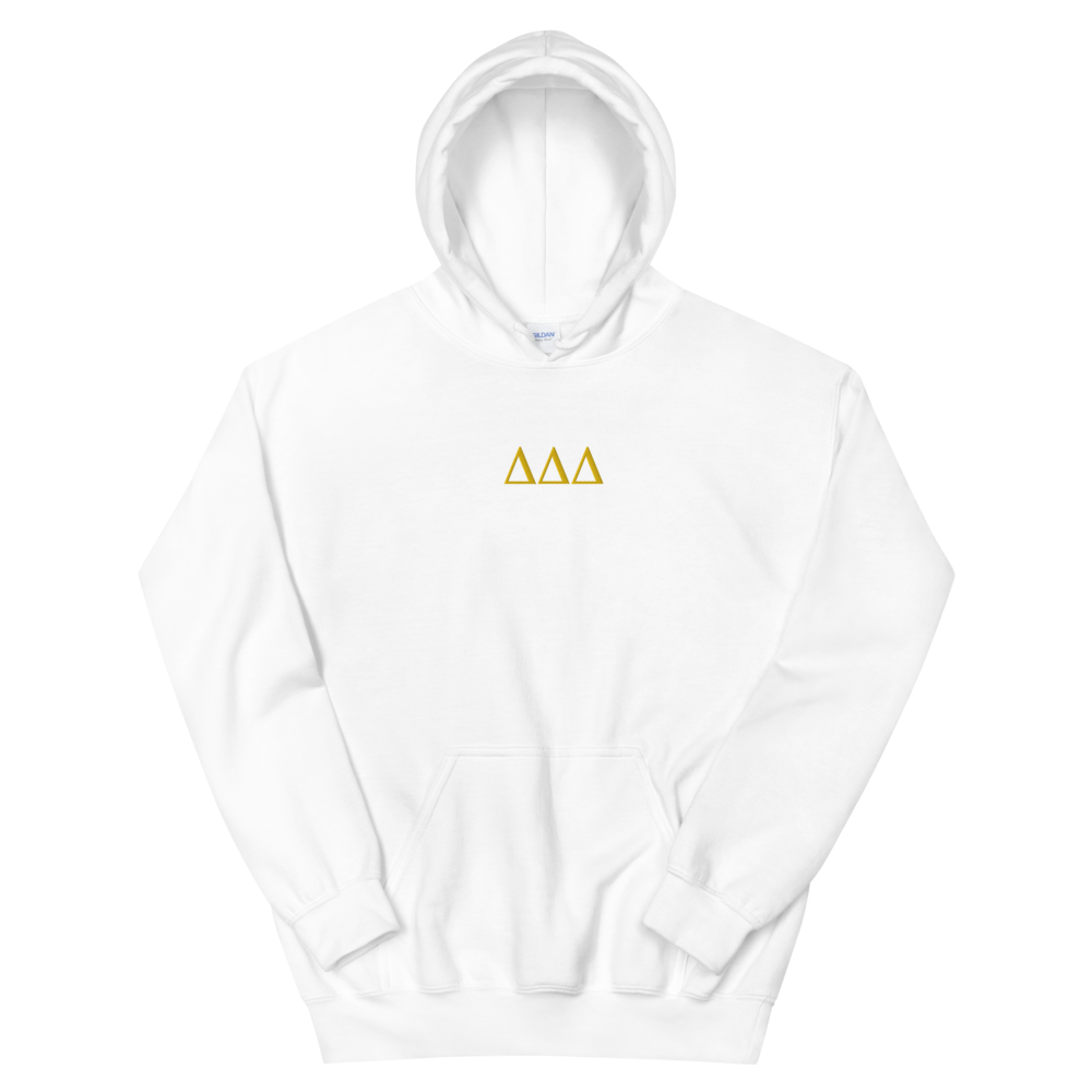 Delta Delta Delta Letters Embroidered Hoodie (White)