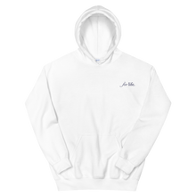 "Load image into Gallery viewer, Delta Gamma ""for life"" Tagline Embroidered Hoodie (White and Navy)"
