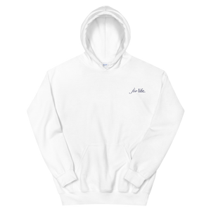 "Delta Gamma ""for life"" Tagline Embroidered Hoodie (White and Navy)"