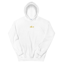 "Load image into Gallery viewer, Chi Omega ""chi o"" Embroidered Script Hoodie (White)"