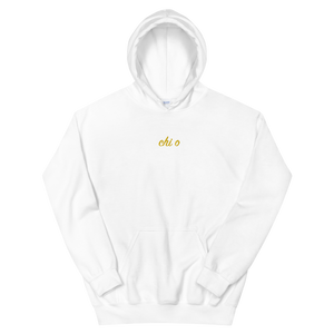 "Chi Omega ""chi o"" Embroidered Script Hoodie (White)"