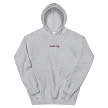 "Load image into Gallery viewer, Lambda Theta Alpha ""lambda lady"" Embroidered Script Hoodie (Sport Grey)"