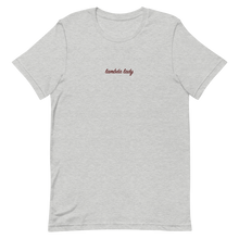 "Load image into Gallery viewer, Lambda Theta Alpha ""lambda lady"" Embroidered Script Shirt (Athletic Heather)"