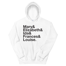 Load image into Gallery viewer, Sigma Kappa Founders Hoodie (White). Reads: Mary and Elizbeth and Ida and Frances and Louise.