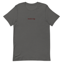 "Load image into Gallery viewer, Lambda Theta Alpha ""lambda lady"" Embroidered Script Shirt (Asphalt)"