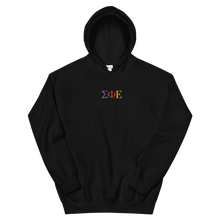 Load image into Gallery viewer, Sigma Phi Epsilon Official Greek Letters Embroidered Hoodie (Black)