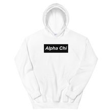 "Load image into Gallery viewer, Alpha Chi Omega ""Alpha Chi"" Block Hoodie (White)"