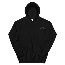 "Load image into Gallery viewer, Delta Gamma ""for life"" Tagline Embroidered Hoodie (Black)"