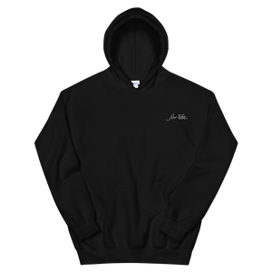 "Delta Gamma ""for life"" Tagline Embroidered Hoodie (Black)"