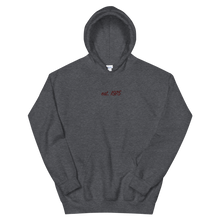 "Load image into Gallery viewer, Lambda Theta Alpha ""est. 1975"" Embroidered Script Hoodie (Dark Heather)"