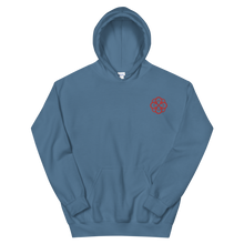 Load image into Gallery viewer, Alpha Omicron Pi Infinity Rose Embroidered Hoodie (Indigo Blue and Red)