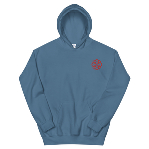 Alpha Omicron Pi Infinity Rose Embroidered Hoodie (Indigo Blue and Red)
