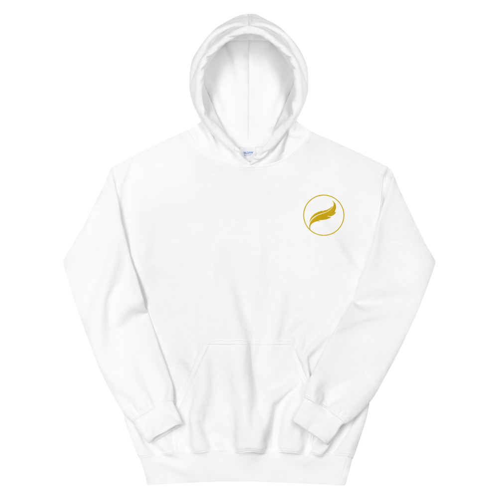 Alpha Xi Delta Quill Embroidered Hoodie (White/Gold)