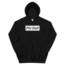 "Load image into Gallery viewer, Phi Delta Theta ""Phi Delt"" Block Hoodie (Black)"