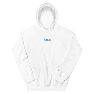 "Kappa Kappa Gamma ""kappa"" Embroidered Script Hoodie (White and Aqua)"
