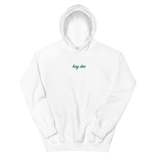 "Load image into Gallery viewer, Kappa Delta ""kay dee"" Embroidered Script Hoodie (White and Green)"